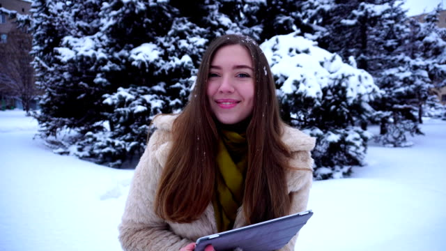 Student on way to university snow winter time video