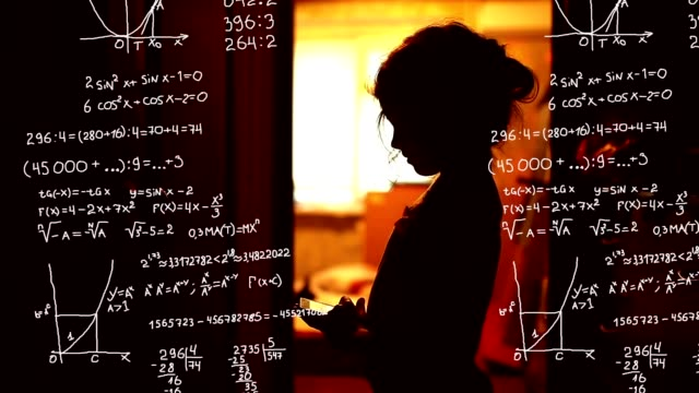 Student teenager girl studying in the phone mathematical problem science formula math Infographics video