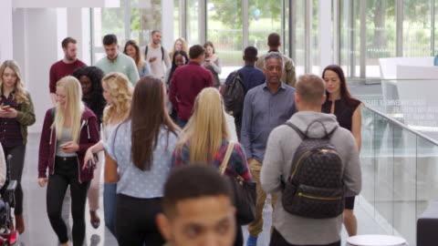 vídeos y material grabado en eventos de stock de estudiantes y profesores a pie en el vestíbulo de una universidad moderna, disparos a r3d - estudiante