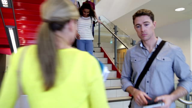 Students and Tutors on a Busy Stairway video