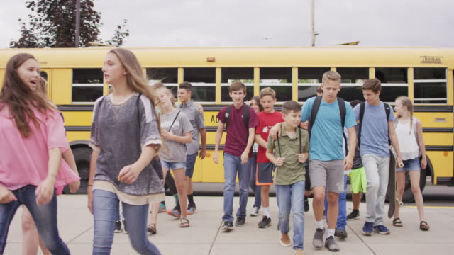 Students arriving at school video