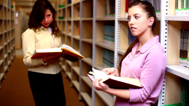 Students in a library video
