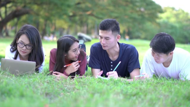 students learning group at school. people meeting team and using laptop computer in the park outdoors. concept of education, together, teamwork, learning, knowledge and research. - compagni scuola video stock e b–roll