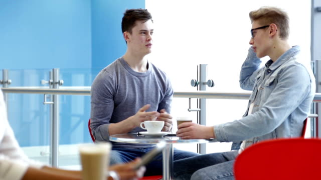 Students Meet In a Cafe for a Coffee video