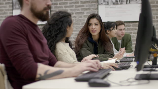 Students working in a computer lab video