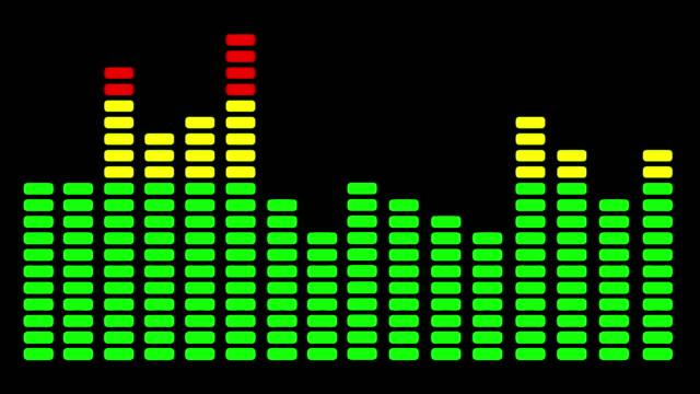 Studio mixing desk audio level lights in full flow - seamless looping
