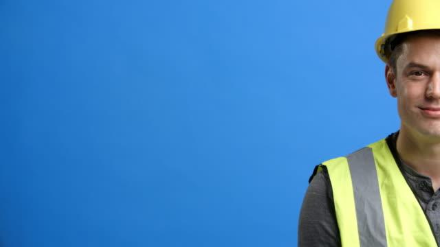 Studio Shot Of Construction Worker Shot In Slow Motion video