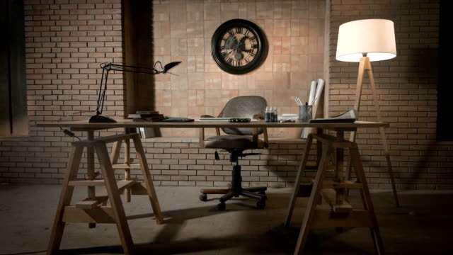 Study Desk in Modern Office Tracking Shot 4K wall clock stock videos & royalty-free footage