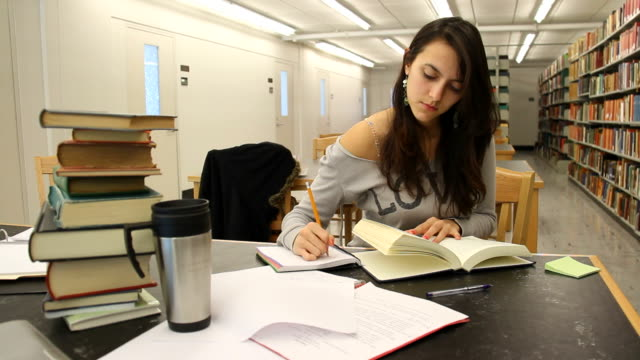 Studying at the library video