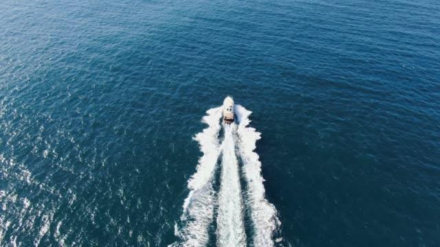 vídeos de stock, filmes e b-roll de impressionante antena 4k cinematográficas de alto ângulo drone seguindo um iate de alta velocidade de luxo poderoso correndo através da água do oceano azul profundo perto de manly beach, sydney, nova gales do sul, austrália. - veículo aquático