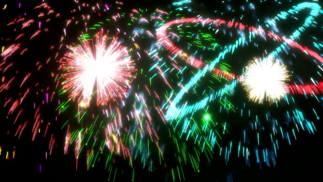Stunning beautiful festive fireworks on a black background Stunning beautiful festive fireworks on a black background bastille day stock videos & royalty-free footage