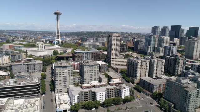 Stunning Helicopter View of Downtown Seattle on Sunny Summer Day in Pacific Northwest CItyscape video