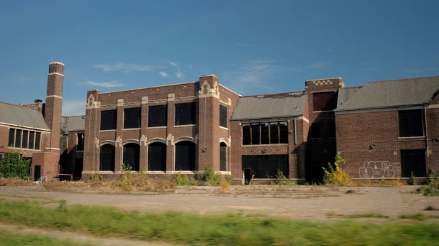 CLOSE UP: Stunning industrial building ruined and deserted in decaying Detroit video