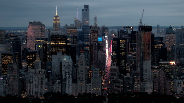 AERIAL Stunning New York City skyline city lights with the Central park by night video