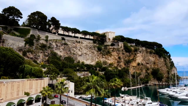 Stunning panorama of Port de Fontvieille with luxury white yachts in Monte Carlo Stunning panorama of Port de Fontvieille with luxury white yachts in Monte Carlo monte carlo stock videos & royalty-free footage