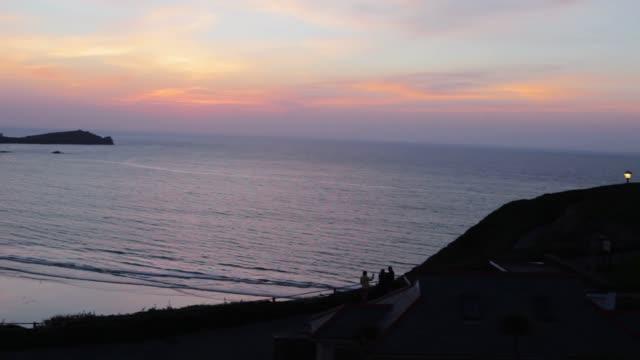 Stunning Panorama Vista of the Cornish Coastline at Sunset (HD) video