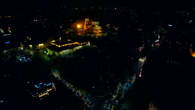 Stunning time lapse aerial drone shot of Sofia city central district at night video