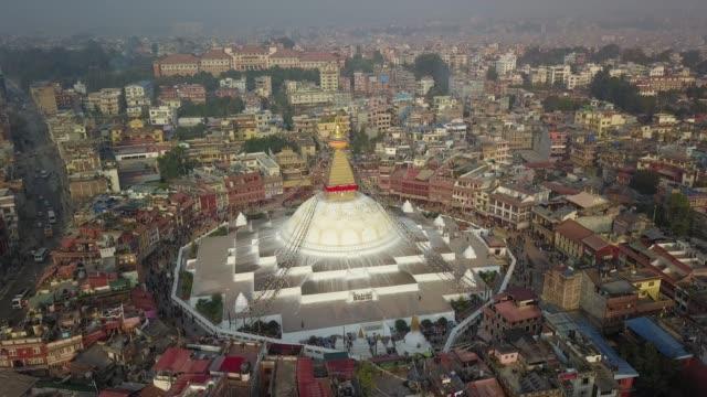 stupa bodhnath katmandu, nepal - 26 ekim 2017 - stupa stok videoları ve detay görüntü çekimi