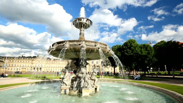 Stuttgart city centre with fountain video