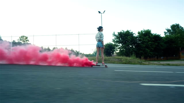 Style Girl Down The Road With Skateboard video