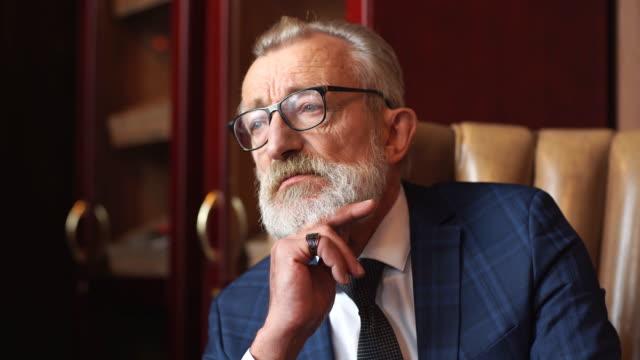 styled portrait of businessman sitting in armchair at office - rich filmów i materiałów b-roll