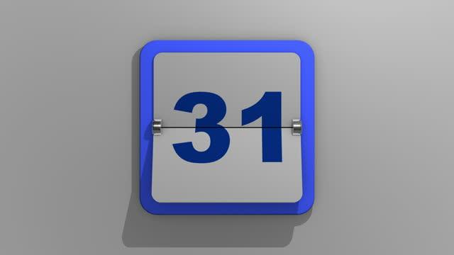 vídeos y material grabado en eventos de stock de elegante representación animada en 3d de un calendario volteando con una parada en el trigésido primer día. ilustración en 3d de 31 días de la semana o días festivos y eventos. animación del número treinta uno. - calendar