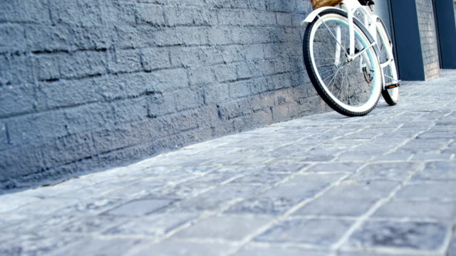 stylish bike is resting on a wall - cestino della bicicletta video stock e b–roll
