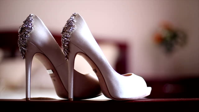stylish bridal shoes - wedding fashion stock videos and b-roll footage
