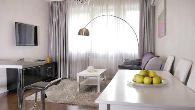 stylish living room in a new apartment - appartamento video stock e b–roll