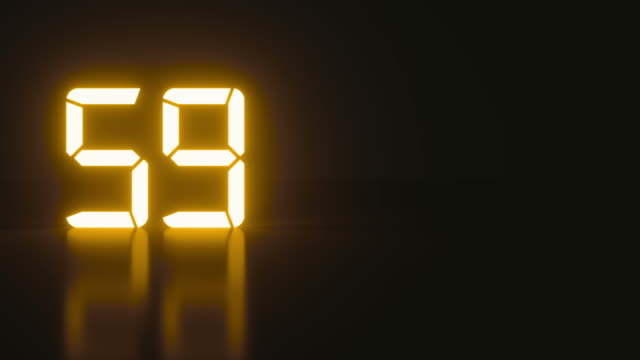 Stylish neon countdown seconds with reflection for analog style presentation Sci-fi current luminous countdown seconds with cool reflection for an analog style presentation. Neon minimalistic real time of one minute of times in an isolated space. Close up static nice shot instrument of time stock videos & royalty-free footage