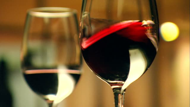 Stylish wine glasses for high quality wine tasting in fine dining video