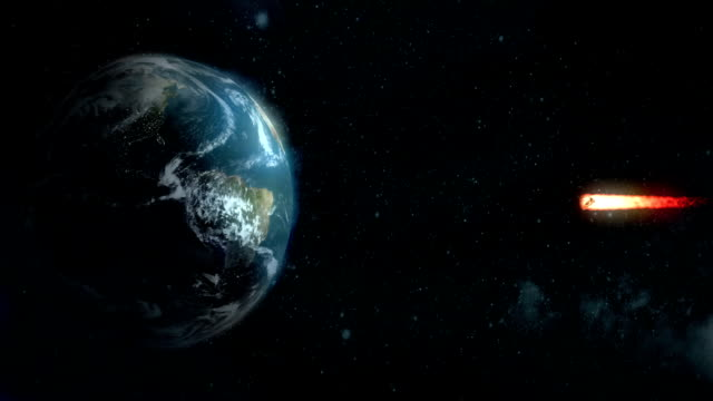 Stylized Animation of Meteor Heading for Earth's Equator video