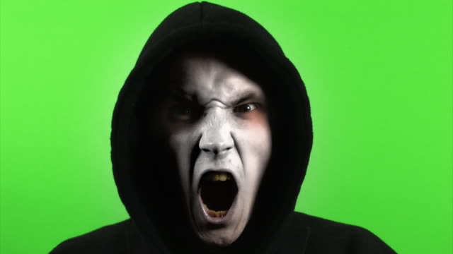 stylized as monster on greenscreen video
