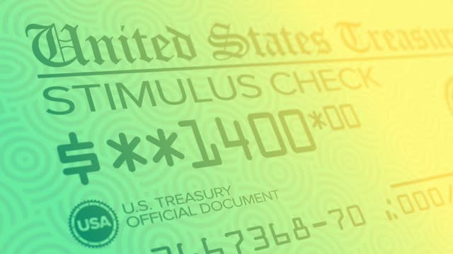 Stylized Background of $1,400 Government Stimulus Check