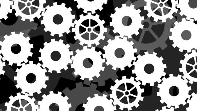 stylized cogwheels mechanism looping background - leva video stock e b–roll
