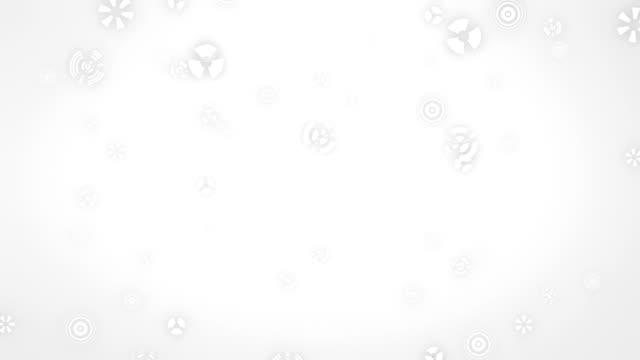 Stylized falling snowflakes. Abstract snowfall in white background. video