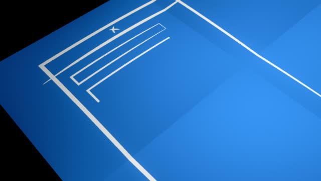 Stylized Interface Design Process Blueprint Animation HD, SD video