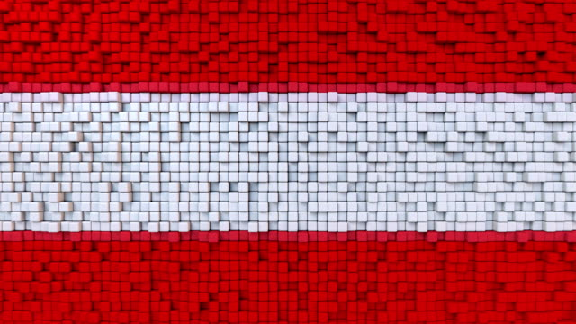 Stylized mosaic flag of Austria made of moving pixels, seamless loop motion background video