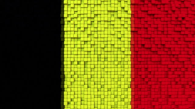 Stylized mosaic flag of Belgium made of moving pixels, seamless loop motion background video