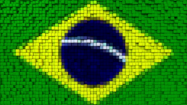 Stylized mosaic flag of Brazil made of moving pixels, seamless loop motion background Stylized Brazilian flag made of big pixels mottled stock videos & royalty-free footage
