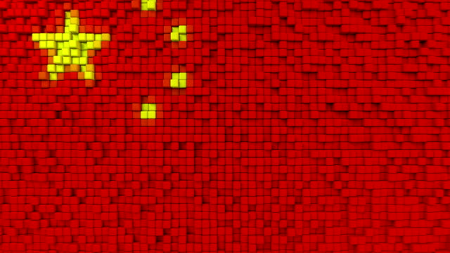 Stylized mosaic flag of China made of moving pixels, seamless loop motion background Stylized Chinese flag made of big pixels mottled stock videos & royalty-free footage