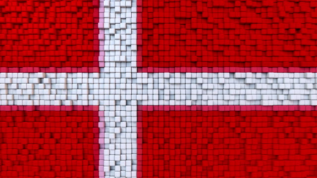 Stylized mosaic flag of Denmark made of moving pixels, seamless loop motion background video