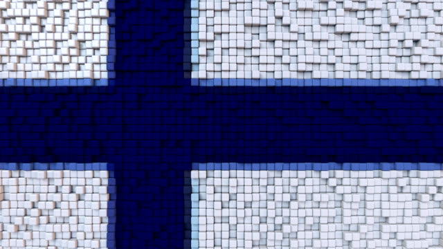 Stylized mosaic flag of Finland made of moving pixels, seamless loop motion background video
