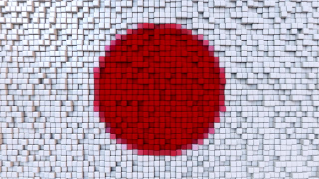 Stylized mosaic flag of Japan made of moving pixels, seamless loop motion background video