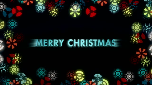 Stylized multicolored snowflakes on black background. Animated Sign Merry Christmass. video