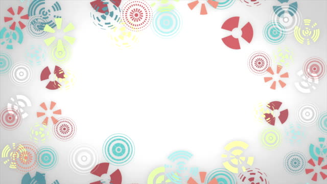 Stylized multicolored snowflakes on white background. Abstract round animation, hi-tech background with circles. video