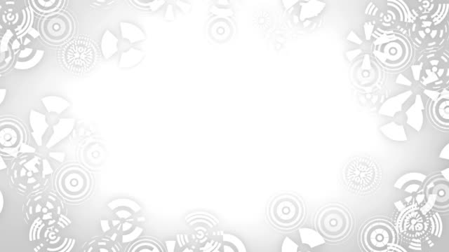 Stylized snowflakes on white background. Abstract round animation, hi-tech background with circles. video