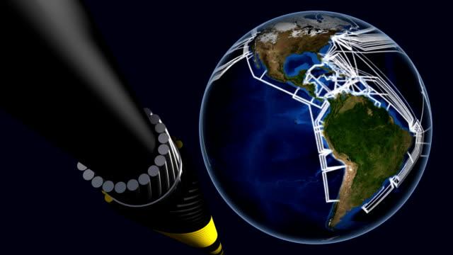 sottomarino internet mappa di rete e di cavi a fibre ottiche. - cavo d'acciaio video stock e b–roll