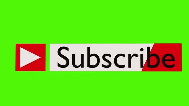 subscribe button on a green background video