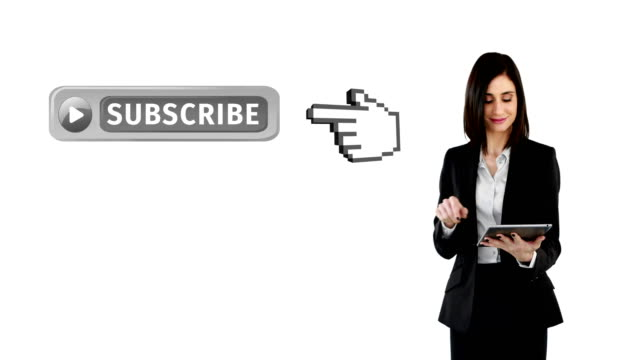 Subscribe button with pointing hand on social media 4k